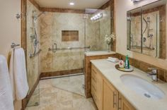 Universal Design Boosts Bathroom Accessibility Handicap Bathroom With Undermount Sink And Walk In Shower for [keyword Small Bathroom With Shower, Bathroom Design Small, Simple Bathroom, Modern Bathroom, Bathroom Ideas, Bathroom Designs, Small Bathrooms, Shower Ideas, Bath Ideas