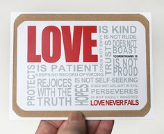 Never can find a good Valentines card. Etsy has tons! For cheaper than Halmark, and much cuter! Love 1Corinthians 13 Card  Valentines Day Bible by mateoandtobias, $4.00