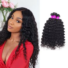 Deep Wave Weave Bundle Deals Inch available for anyone, anywhere, anyday❤️ Link in the bio💕💗 Weave Hairstyles, Straight Hairstyles, Deep Wave Weave, Buy Hair Extensions, Best Virgin Hair, Virgin Hair Bundles, Remy Human Hair, Lace Wigs, Kinky