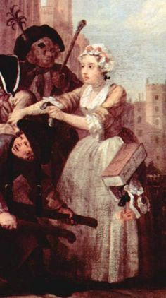 "1732. Detail of ""The Rake's Progress, Plate 4"" by William Hogarth. 18th century English women's clothing."