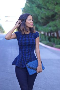 0e71a68bd954d1 black and blue hounds tooth peplum top. fab found, fall style, lady style