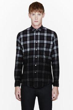 PUBLIC SCHOOL Black flannel degraded plaid shirt.