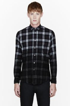 PUBLIC SCHOOL Black flannel degraded plaid shirt.