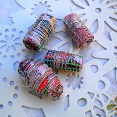 Paper Tube Beads, wrapped with silver thread and dusted with glitter