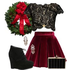 Holiday lace by avioba on Polyvore featuring Lover, Chicwish, ALDO, Sparkling Sage, Charlotte Russe, lace, booties, velvet and holiday