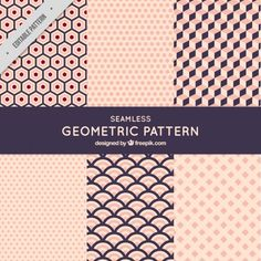 Cute geometric patterns Free Vector