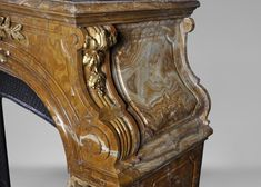 Extraordinary antique Louis XIV style fireplace with lions heads in Alabastro di Busca and gilded bronze - Marc Maison - Fireplace Mantels, Marble Piedmont Region, Alabaster Stone, Architectural Antiques, Louis Xiv, Fireplace Mantels, Turin, Making Out, Lions, 19th Century