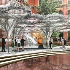 Stuttgart architect Achim Menges has developed designs for a robot-fabricated pavilion based on the wings of flying beetles, which will be erected in the V&A museum courtyard in London.