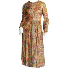 Pre-owned Amazing 1960s Vintage mollie Parnis Paisley Silk Metallic... ($850) ❤ liked on Polyvore featuring dresses, cocktail dresses, evening dresses, pattern dress, silk dress, metallic dress, metallic cocktail dress and baby doll cocktail dress