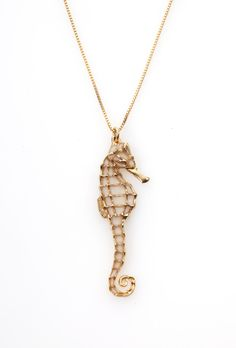 Handcrafted Nautical Jewelry Seahorse Necklace in Gold Pearl Color - FREE SHIPPING (160.00 USD) by FunWithMillefiori