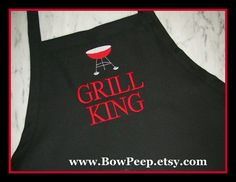 "Personalized Extra Large ""BBQ Grill King"" Mens Apron - XL Tall Size Big Mens Aprons, Grilling Aprons, Large Size Aprons, Mens BBQ Aprons by SomethingYouAprons on Etsy https://www.etsy.com/listing/99723606/personalized-extra-large-bbq-grill-king"