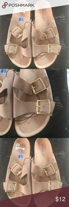 New Madden Girl Birkenstock New size 8.5 Madden Girl Birkenstock style in tan color, left sandal separating at top, a little glue and good to go other than that still perfect condition! Price reflects condition see pictures Madden Girl Shoes Slippers