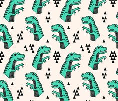 Dinosaurs - Light Jade/Champagne/Charcoal by Andrea Lauren fabric by andrea_lauren on Spoonflower - custom fabric