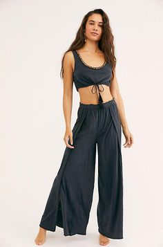 Intimately It's A Shore Thing Set Cropped Flare Pants, Wide Leg Pants, New Outfits, Summer Outfits, Cute Outfits, Summer Lookbook, Beaded Trim, Striped Shorts, Crop Tank