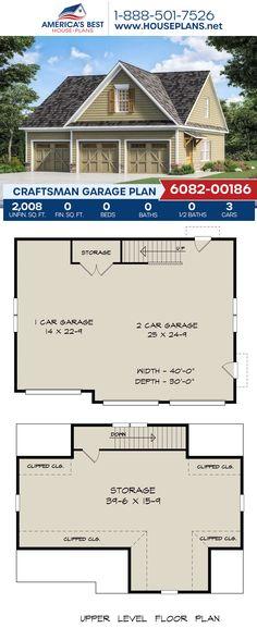 A stylish Craftsman garage design, Plan 6082-00186 features 2,008 sq. ft. and storage space. #craftsman #garage #garageplans #architecture #houseplans #housedesign #homedesign #homedesigns #architecturalplans #newconstruction #floorplans #dreamhome #dreamhouseplans #abhouseplans #besthouseplans #newhome #newhouse #homesweethome #buildingahome #buildahome #residentialplans #residentialhome