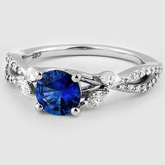Sapphire Luxe Willow Diamond Ring (1/3 ct. tw.) in 18K White Gold, 6mm Round Blue Sapphire