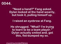 """but it killed me when she said """"my ex"""" Maximum Ride Quotes, Maxium Ride, Max Max, Learning To Be, Book Fandoms, Im Trying, Hunger Games, Imagination, Harry Potter"""