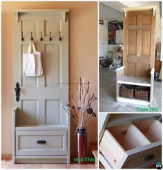 DIY Recycled Door Entryway Bench Instructions-20 Best #Entryway Bench DIY Ideas Projects #Furniture