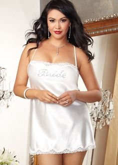 Sexy plus size bridal lingerie. Bridal shower gift idea. Perfect for your honeymoon or wedding night, simple satin chemise with pretty lace trim. Bride is written in rhinestones on the bodice. Low back with criss cross straps.
