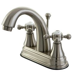Bathroom Faucets DIY | Kingston Brass KS7618BX English Vintage Centerset Lavatory Faucet with Brass PopUp 4Inch Satin Nickel *** Check this awesome product by going to the link at the image. Note:It is Affiliate Link to Amazon.