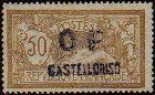 1920 Castelrosso, 50c cinnamon and lavender Merson overprinted O F.