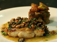 Hake, caper and brown shrimp butter