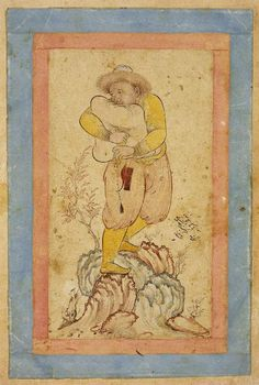 A bag-pipe player standing on a rock Maker: Unknown; miniaturist Category: miniature (painting) Date: 1624 School/Style: Persian Period: 17th Century Technique: watercolour Material(s): bodycolour; medium white bodycolour; medium ink; medium gold; medium paper; support Technique Description: bodycolour, including white, pen and ink with gold on paper, laid down Dimension(s): height, 178, mm width, 104, mm Fitzwilliam Museum