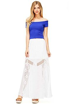 f2d7919254c68 On the Land Womens Cute Linen Crochet Maxi Skirt S Off White * Check this  awesome product by going to the link at the image. Faye Fashion