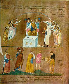 Rossano Gospels, Christ comes before Pilate, 6th century.