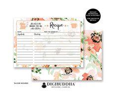 floral bridal shower recipe card custom floral watercolor recipe card bridal recipe card wedding shower recipe
