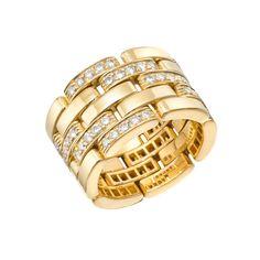 Estate Cartier Panthére 18k Gold & Pavé Diamond Band Ring