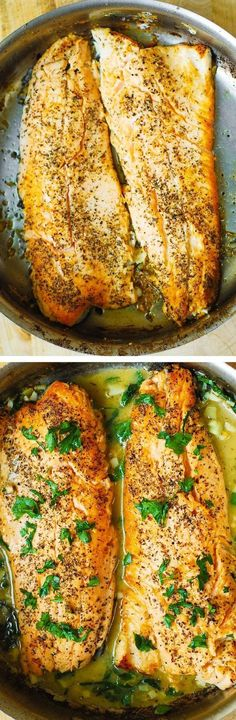 Trout cooked on the stove-top with Garlic Lemon Butter Herb Sauce - 30 minutes recipe. Italian herb seasoning, chopped fresh parsley and garlic - YUM!