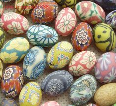 colorful multi color mixed fimo clay 12mm x 16mm egg beads 40 pieces No103. $3.99, via Etsy.