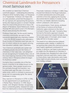 Sir Humphrey Davy, National Chemical Landmark plaque. Penzance, 2015