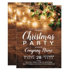 Rustic Christmas country corporate mistletoe light Invitation Rustic Christmas country corporate holiday party photo with brown wood, and Christmas string lights, red and green mistletoe photo Merry Christmas, Rustic Christmas, Christmas Themes, Christmas Holidays, Christmas Parties, Corporate Christmas Party Ideas, Christmas Stuff, Winter Parties, Office Christmas