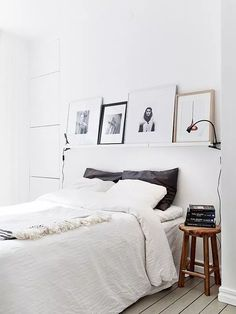 52 trendy bedroom art above bed diy head boards Bedroom Art Above Bed, Above Bed Decor, Wood Bedroom, Bedroom Bed, Bedroom Black, White Bedrooms, Small Bedrooms, Shelf Above Bed, Bed Rooms
