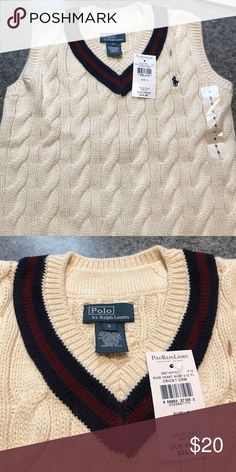 Boys Polo by Ralph Lauren cable knit vest, size 6 Cream colored with maroon and navy accent at the waist and v neck. Polo by Ralph Lauren Shirts & Tops Sweatshirts & Hoodies