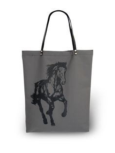 Barn Tote in Gallop Waterproof Fabric, Leather Handle, Equestrian, Barn, Reusable Tote Bags, Accessories, Show Jumping, Horseback Riding, Barns