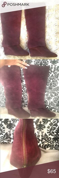 Steven covered wedge knee high boots Steven covered wedge knee high boots. Genuine leather.  Zipper on heel. Super comfortable and stylish. Worn once. Steven by Steve Madden Shoes Over the Knee Boots