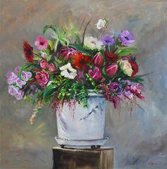 Olieverf Witte pot met bloemen maat 60x60 x 3 cm, 3D canvas doek. Kan zo zonder lijst opgehangen worden als modern schilderij. Email mij vrijblijvend bij interesse en/of voor een grotere foto en prijs.
