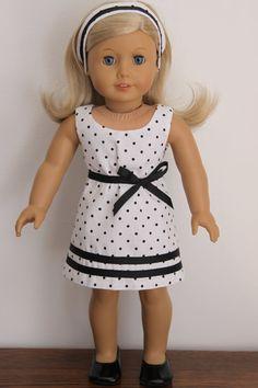 American Girl Doll Spring Summer polka dot by dollpetitecouture, $32.00