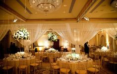 Wedding Reception Tables  Gold & White