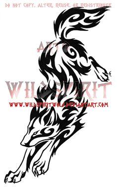 Wolf Leap Tribal Swirl Tattoo by WildSpiritWolf on DeviantArt Tribal Animal Tattoos, Tribal Drawings, Tribal Wolf Tattoo, Tribal Animals, Tribal Sleeve Tattoos, Elephant Tattoos, Wolf Tattoos, Tattoo Animal, Tatoos