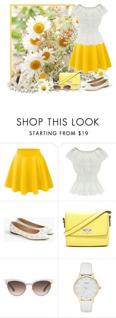 """""""White and yellow set - Contest!"""" by asia-12 ❤ liked on Polyvore featuring LE3NO, WithChic, J.Crew, Forever 21, Gucci, Kate Spade and Kendra Scott"""