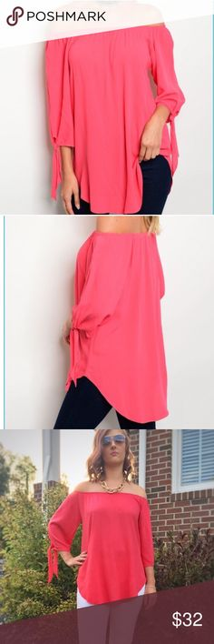 """S-M-L Coral pink off the shoulder top Coral off the shoulder top has elasticized neckline, 3/4 sleeves with ties and a curved hemline. 96% rayon 4% spandex. Cool and comfortable! S-bust 19"""", length (from neckline to hem) 27"""", M-bust 20"""", length 28"""", L-bust 21"""", length 29"""". Made in USA! Tops Blouses"""