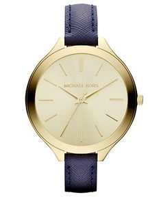 Michael Kors Watch, Women's Navy Leather Strap 42mm MK2285 - For Her - Jewelry & Watches - Macy's