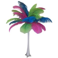 Tropical ostrich feather centerpiece.