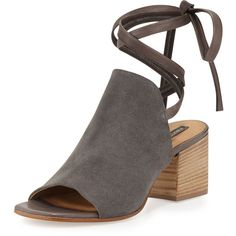 Alberto Fermani Natalina Suede Ankle-Tie Sandal (29.825 RUB) via Polyvore featuring shoes, sandals, carbone, high heel shoes, suede leather shoes, block heel shoes, open toe sandals и ankle strap shoes