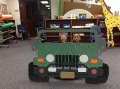 Well as you can see I have really become cardboard savvy and was inspired to create a jungle theme. This is the jeep. One of my favorite creations thus far and the kids love it.
