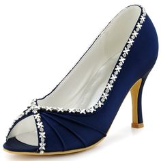 54.99$  Buy now - http://ali3wh.shopchina.info/go.php?t=32482415687 - Women Shoes EP2094 Blue Navy Teal Evening Bride Bridal Party Pumps High Heel 3'' Satin Peep Toe Rhinestones Strass Wedding Shoes  #SHOPPING